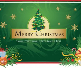Set of Christmas theme cards elements vector material 03