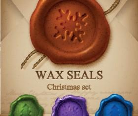 Christmas wax seals design elements vector set 01