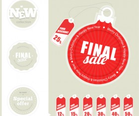 Different Christmas sale tags elements vector 01