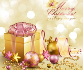 Ornate Christmas Pendant gift cards vector 02