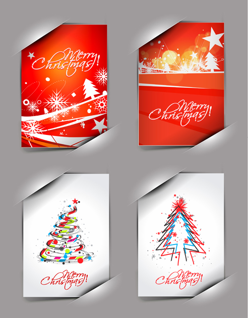Elements of Abstract Christmas cards design vector 02