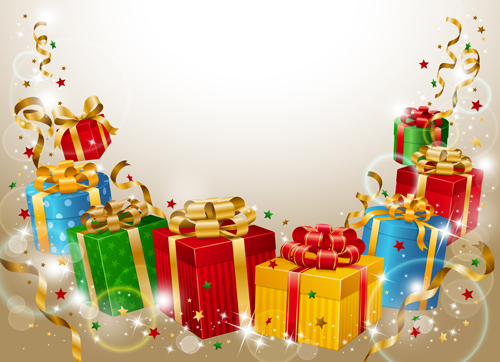 Different Christmas gifts box design elements vector 02