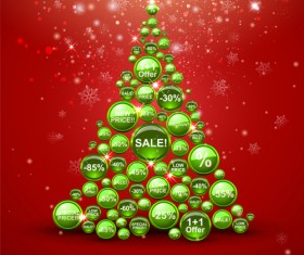 offbeat Christmas tree design elements vector 02