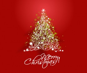 Sparkling Christmas tree design vector 01