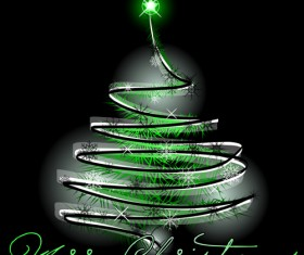 Sparkling Christmas tree design vector 02