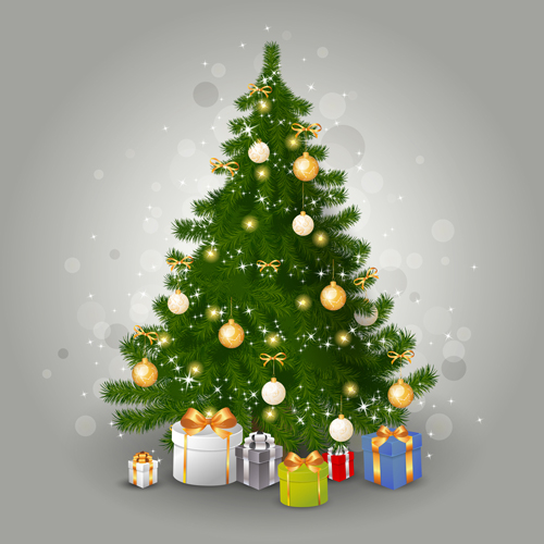 Various Christmas Tree Elements Vector Graphics Set 04 Free Download