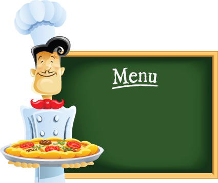 Funny Cook with Waiter design vector set 05