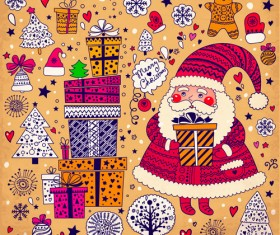 Cute Santa and Christmas ornaments Scraps vector 01
