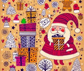 Cute Santa and Christmas ornaments Scraps vector 01