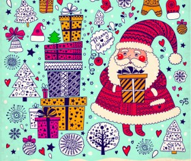 Cute Santa and Christmas ornaments Scraps vector 02