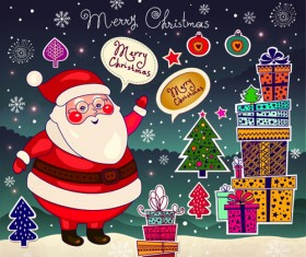 Cute Santa and Christmas ornaments Scraps vector 03