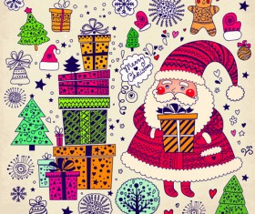 Cute Santa and Christmas ornaments Scraps vector 04