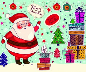 Cute Santa and Christmas ornaments Scraps vector 05