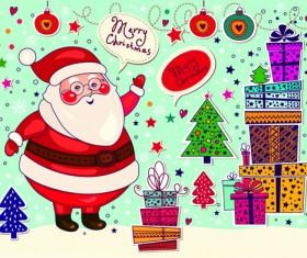 Cute Santa and Christmas ornaments Scraps vector 05