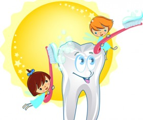 Set of Dental design elements vector clipart 01