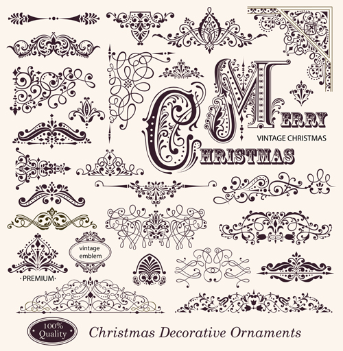 Different Christmas Decorative Ornaments And Labels Vector 01