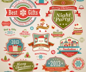 Different Christmas decorative ornaments and labels vector 03