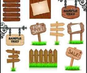 Different Wooden Signboards design vector