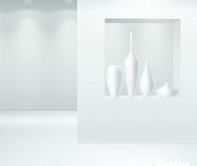 Set of Empty white interior backgrounds design vector 01