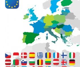 Set of European Union flag and symbol design vector graphics 03