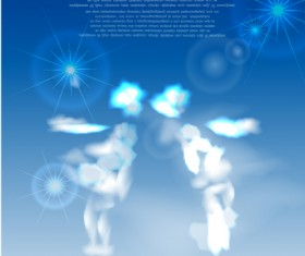 Shiny Figure cloud vector backgrounds 03
