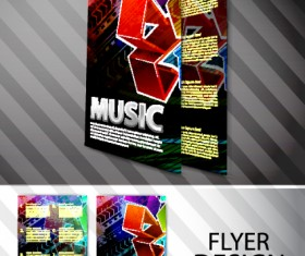 Elements of Abstract Flyer Music vector set 01