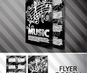 Elements of Abstract Flyer Music vector set 02