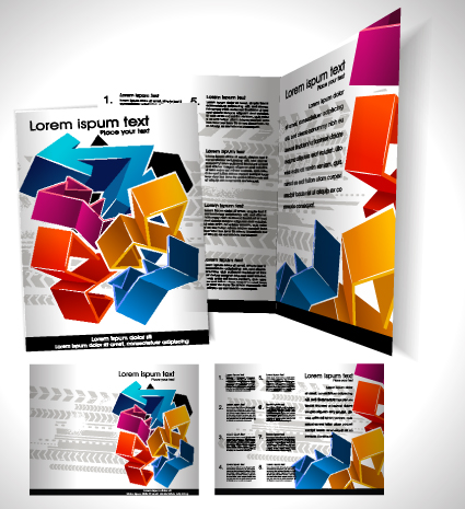 book and Folder cover design vector graphics 01