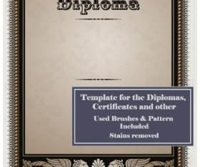 Set of Diploma Certificate Frame design vector 01