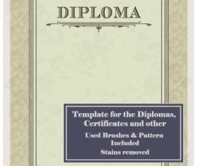 Set of Diploma Certificate Frame design vector 03