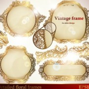Link toSet of golden lacework frames vector 02