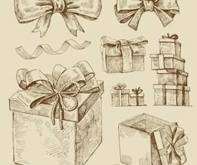 Hand drawn Retro Merry Christmas accessories vector art 02