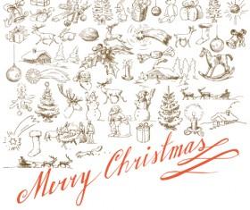 Hand drawn Retro Merry Christmas accessories vector art 03