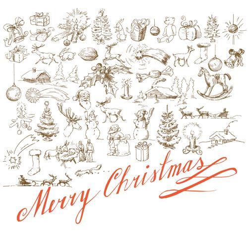 Christmas Graffiti Background.Hand Drawn Retro Merry Christmas Accessories Vector Art 03