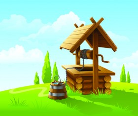 Set of House with nature design vector 02