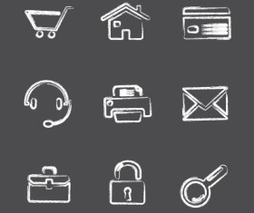 Vector Icons sketch in pencil design elements 01