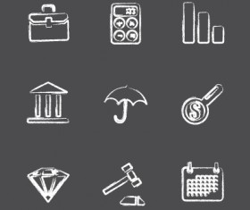 Vector Icons sketch in pencil design elements 02