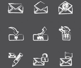 Vector Icons sketch in pencil design elements 03