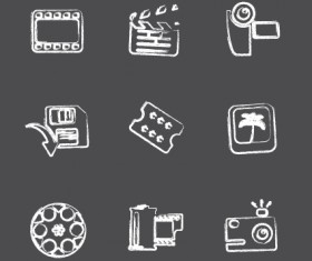Vector Icons sketch in pencil design elements 05