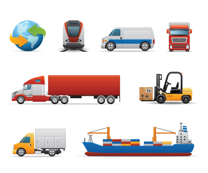 Different transport icon design vector set 02