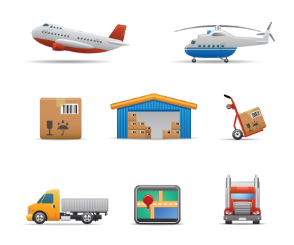 Different transport icon design vector set 03