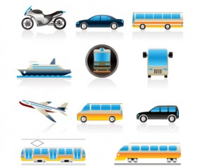 Different transport icon design vector set 04