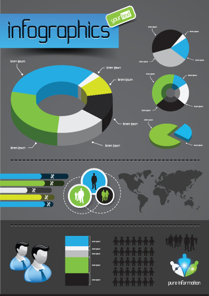 Infographics with Economy elements vector graphics 01