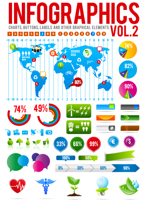 Infographics with Economy elements vector graphics 02