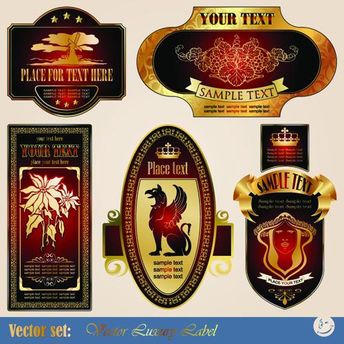 luxurious Label wine design vector graphics 01 Vector Label free