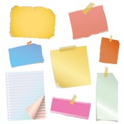 Link toMulticolor message paper and paper clip vector 01