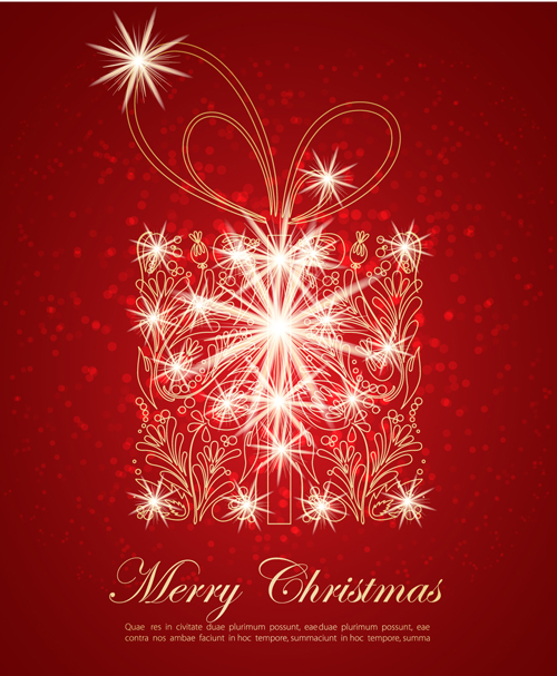 Ornate Red Christmas Backgrounds vector material 02