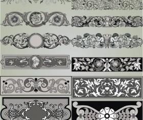 Retro Patterns with frameworks design elements vector 05