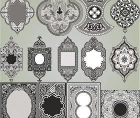 Retro Patterns with frameworks design elements vector 10