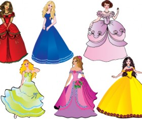 Different Princess design elements vector graphic 02